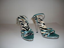 High Heel Ankle Strape Shoes by Frederick of Hollywood  7M, Animal Print Blue 4""