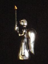 Modern LOS CASTILLO Sterling ANGEL Candle BROOCH Pin 2¾