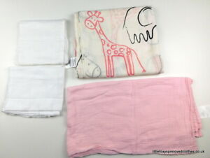 4 pieces of new and used baby muslin squares large white pink and with animals