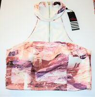 Ally Brand Pink Printed Choker Neck Strapless Crop Top Size 12 BNWT #SB113