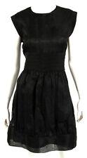 BALENCIAGA Black Silk Floral Jacquard Pleated Waist Detail Dress 42