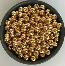50X Gold European Macrame Beads 10x8mm Round Resin Craft Bead 4.5mm Hole