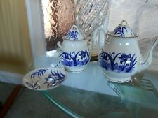 teapot saucer jar with lid pattern birds & reeds Chinese type pattern GC