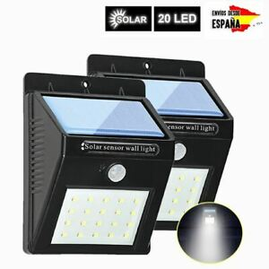 20 LED Solar Luz de Pared PIR Sensor de Movimiento Lámpara Exterior Impermeable
