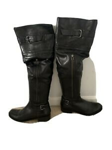 Black Leather Over The Knee Boots size 9