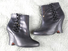 KG KURT GEIGER Womens Size 5 Wedge Heel Black Leather Ankle Boots Victorian Goth