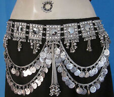Womens Coin BELT Vintage Retro Festival Belly Dance Scarf Pants Costume Jewelry
