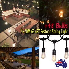 2 Set of Vintage Garden Pergola Festoon String Lights Waterproof + 48 S14 Bulbs