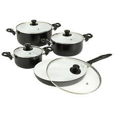 8 Piece Cookware Set Ceramic Coating Frying Pans Saucepan Frypan Glass Lid
