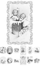 """Adult Coloring Over Grayscale Book (24 cards 4.5""""x6.5"""") Christmas Santa FLONZ502"""