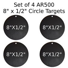 "Set of 4 AR500 Steel Target Circle 1/2"" x 8"" Painted Black Shooting Practice"