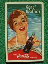 "Coca-Cola Pretty Girl in Swimming Pool ""Sign of Good Taste"" Swap Card 1959 Oldie"