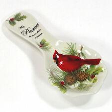 "Cracker Barrel SEASON OF PEACE 9.25"" Spoonrest Christmas Ceramic Serve Ware"