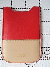 "J CREW Case Leather Slider Case Red and Tan 4"" Deep 2-1/2"" Wide Good Condition"
