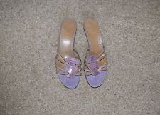 New VERO CUOIO Violet Beige leather Slides Mules Kitten women Sz 8 M  from Italy