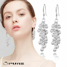 925 Sterling Silver Plated Long Grape Ball Bead Fashionable Drop Dangle Earrings