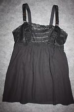 Lane Bryant Cacique Chemise Babydoll Teddy 14/16 Sheer Black Lace Strappy