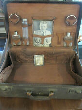 ANTIQUE LUGGAGE TRAIN TRAVEL OVERNITE VALISE TOILETRY JARS JAMES CAGNEY MIRROR