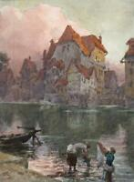 JOSEPH TWIGG 1844-1914 Watercolour Painting THE FULDA RIVER KASSEL GERMANY c1910
