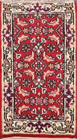 Geometric RED/ IVORY Indo Heriz Oriental Area Rug Hand-knotted Wool 2'x3' Carpet