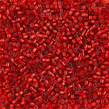 Miyuki Delica Beads Size 10 Silver Lined Dyed Red 7.2g