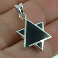 Star of David Mens Silver Pendant, w Black Onyx, 925 Solid Sterling Silver,