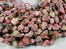 "NATURAL PINK & GRAY RHODOCHROSITE FREEFORM NUGGET BEADS 10-20MM 15"" STRAND"