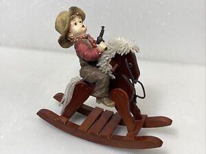 Vintage Wood Rocking Horse With Cowboy Acrylic Deco