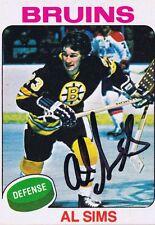 Al Sims 1975 OPC Autograph #136 Bruins