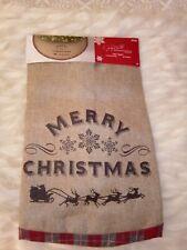 "Christmas Tree Burlap Skirt 48 in Jaclyn Smith ""Merry Christmas"" Gold Interior"