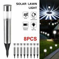 8Pc Outdoor Solar Power LED Garden Light Lawn Patio Pathway Landscape Waterproof