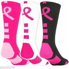 *** 3 Pair Ladie's Performance Elite Breast Cancer Awareness Socks 9-11 ***