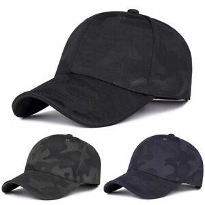 Men Camo Military Baseball Cap Spors Hip-Hop Curved Visor Adjustable Hat Black