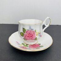 Vintage England Royal Dover Bone China Pink Floral Tea Cup and Saucer