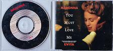 MAXI CD SINGLE 3 TITRES MADONNA YOU MUST LOVE ME B.O.F EVITA 1996 EUROPE