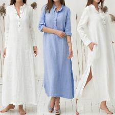 UK 8-24 ZANZEA Plus Womens Kaftan Long Sleeve Split Plain Cotton Maxi Long Dress