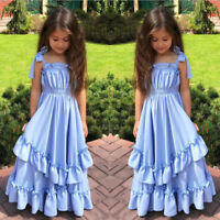 US STOCK Flower Girls Bow Wedding Dress Party Tutu Prom Ball Formal Pageant Gown