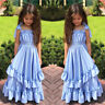 Kids Girl Princess Pageant Birthday Party Long Dress Maxi Gown Flower Girl Dress