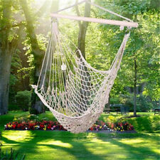 Hammock Swing Camping Cotton Hanging Rope Chair Outdoor Porch Patio Beige
