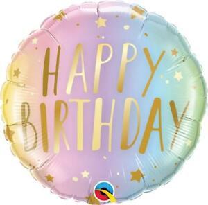 Qualatex Birthday Pastel Ombre & Stars 18 Inch Foil Balloon
