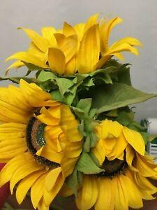 "NEW Pottery Barn Set 3 Faux Sunflower Stems Spring Summer Fall Autumn 28"" Tall"