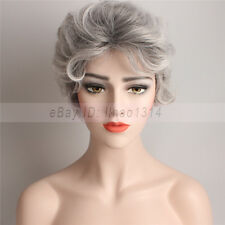 3-7 Day Ship Unisex Older Women Men Costume Natural Wigs Short Curly Silver Gray