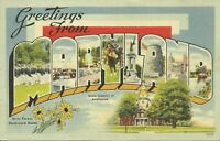 Greetings From Maryland Large Letter Linen Postcard