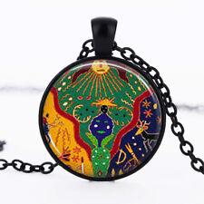 Sun Mayan Black Dome Glass Cabochon Necklace chain Pendant #185