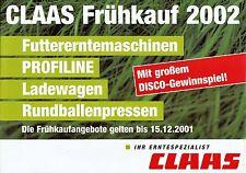 Claas Frühkauf 2002 Jaguar Profiline Prospekt Broschüre Landmaschinen Europa