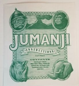 1995 Jumanji Board Game Replacement Pieces Instructions