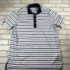 Mens Large Ralph Lauren RLX Wicking Golf Polo Shirt White Blue Stripes