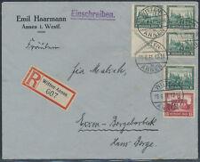 Dt. Reich Nothilfe Bauwerke 1930 Zusammendruck W 37 Einschreiben (S15173)
