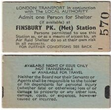 More details for wwii air raid ticket admit one person for shelter at finsbury park (met) station