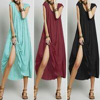 ZANZEA Women Summer Flare Swing Beach Party Babydoll Gown Sundress Midi Dress